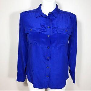 J Crew 100% Silk Blythe Shirt Size 12